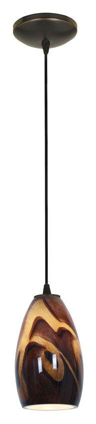Access 28012-1C-ORB/ICA SydneyInca Glass Cord Hanging Bronze Bar Light - ACC-28012-1C-ORB-ICA
