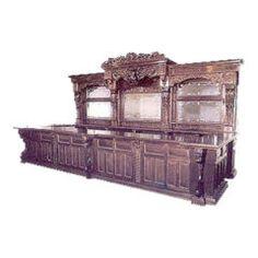 Large Carved Mahogany Bar