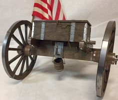 "VINTAGE 18"" Brass & Wood Civil War Era Field Cannon & 24"" Supply Carriage! 