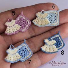 Set of 2 miniature tiny crochet potholders for dollhouse scale in cream and colors, 1 little dr Crochet Baby Poncho, Crochet Baby Dress Pattern, Crochet Teddy, Crochet Bear, Crochet Baby Booties, Crochet Slippers, Crochet Patterns Amigurumi, Crochet Gifts, Crochet For Kids