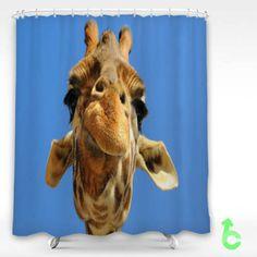 Cheap giraffe funny Face Shower Curtain
