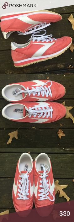 EUC Brooks Heritage Vanguard - 8.5 ExCellent condition Brooks Heritage Vanguard - 8.5. Pink + white. Retail $75, asking $30 or best offer. Brooks Shoes Sneakers