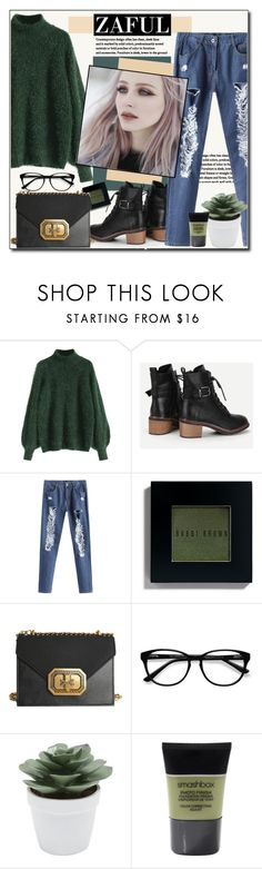 """""""Zaful Sweater"""" by polybaby ❤ liked on Polyvore featuring Bobbi Brown Cosmetics, EyeBuyDirect.com, M&Co, Smashbox, Sweater, ootd, falll and zaful"""