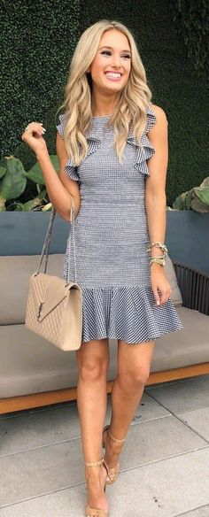 #spring #outfits woman wearing pinstriped sleeveless mini dress and pair of brown heel sandals outfit. Pic by @champagneandchanel