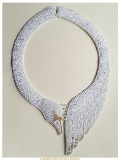 Wild Swan white and golden bead embroidered by ZmrokovaWorkshop