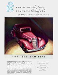 Cadillac Five Passenger Sedan 1935 - Mad Men Art: The 1891-1970 Vintage Advertisement Art Collection