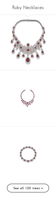 """""""Ruby Necklaces"""" by sakuragirl ❤ liked on Polyvore featuring jewelry, necklaces, accessories, jewels, cabochon pendant, white gold necklace, 18k necklace, circular pendant necklace, circular pendant and diamond jewelry"""