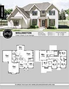 2 Story Modern Farmhouse House Plan – Keller – Fitness Tips House Plans 2 Story, Sims House Plans, Family House Plans, New House Plans, Dream House Plans, House Plans With Garage, Floor Plans 2 Story, Four Bedroom House Plans, 2 Story Houses