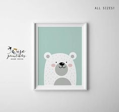 Bear baby shower gift Nursery decor cute present print poster