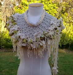 Cotton  Vintage  Lace Scarf Collar Hand Crocheted
