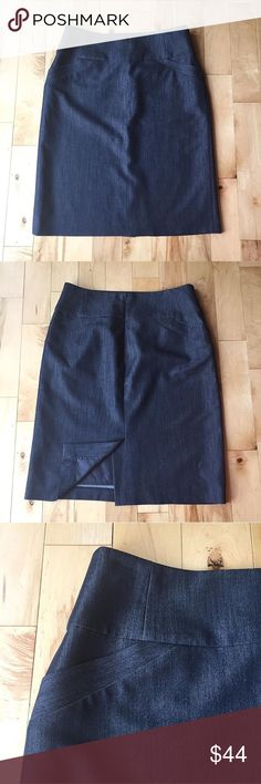 Calvin Klein Pencil Skirt Calvin Klein pencil skirt. Size 8. Front pockets. 80 % polyester, 16% rayon, and 4% spandex. Slit in back. Waist measurement: 16 1/2 inches. Length: 24 inches. Slit length: 7 inches. Navy color. EUC. Offers welcome, no trades. 20% discount on 2 or more items. Calvin Klein Skirts Pencil