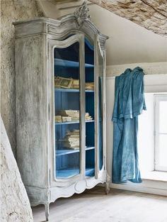 Love the painted shelves inside the Armoire. It gives it a personal touch. | French Armoire | Bedroom | Wood Armoire | Vintage | Painted Furniture
