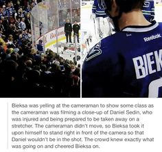 Much respect for Kevin Bieksa. Some things are just bigger than entertaining the crowds. Hockey Baby, Ice Hockey, Funny Hockey, Pens Hockey, Hockey Stuff, Hockey Boards, Hockey Rules, Anaheim Ducks, Vancouver Canucks