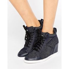 G-Star New Labour Denim Wedge Trainers (€170) ❤ liked on Polyvore featuring shoes, sneakers, navy, lacing sneakers, wedge trainers, navy blue sneakers, denim wedge sneakers and laced up shoes