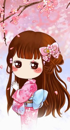 sakura girl part 2 Kawaii Chibi, Cute Chibi, Kawaii Cute, Kawaii Girl, Anime Chibi, Kawaii Anime, Cute Cartoon Characters, Manga Cute, Chibi Girl