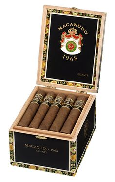 Macanudo 1968 cigars were created in 2008 to celebrate the premium cigar brand's 40-year legacy. Blended entirely from proprietary Dominican and Nicaraguan filler tobaccos bound in Habano Connecticut, the surprisingly rich and full-bodied 1968 is wrapped in a dark, rustic Honduran San Agustin leaf and has intricately balanced flavors of cocoa, caramel, coffee, sweet nuttiness, a touch of pepper, and an inherent natural sweetness from the soils that bore each tobacco.