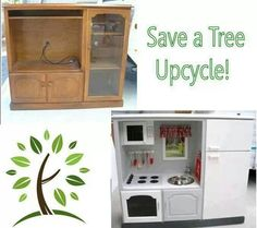 Upcycle! A great idea for your kids! Why pay hundreds of dollars for a plastic kitchen when you can do this!
