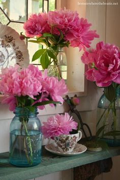 Stop and Smell the Peonies | homeiswheretheboatis.net #jars #pottingshed