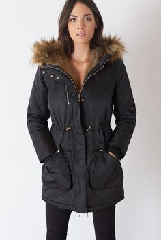 It's what's on the inside that counts! This winter parka is lined with thick faux fur