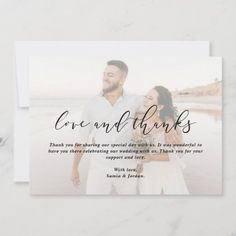 Simple Elegant 2-Photo Love & Thanks Wedding Thank You Card Wedding Typography, Modern Typography, Photo Thank You Cards, Wedding Thank You Cards, Thank You Card Template, Brochure Ideas, Corporate Brochure, Wedding Save The Dates, Custom Photo