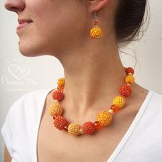 Crocheted Statement NECKLACE Yellow & Orange crochet by AmazingDay,