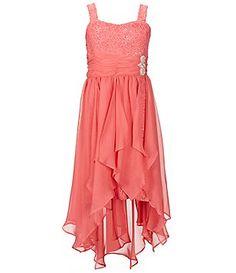 Tween Diva Big Girls 7-16 Lace-Chiffon Asymmetrical Dress