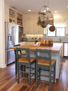 White Country Kitchen with Island - 99 Beautiful Kitchen Island Design Ideas on HGTV