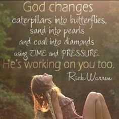 God changes caterpillars into butterflies, sand into pearls and coal into diamonds using time and pressure. He's working on you too. -Rick Warren
