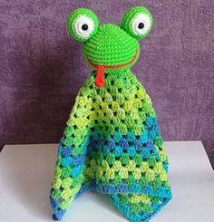 Ravelry: Frog-blankie pattern by Dominika Kamyszek - OrlicaCraft Crochet Frog, Baby Afghan Crochet, Crochet For Kids, Crochet Toys, Free Crochet, Crochet Blankets, Baby Security Blanket, Lovey Blanket, Amigurumi Patterns