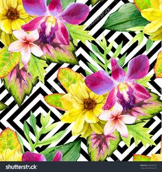 Seamless Background With Watercolor Tropical Flowers. Beautiful Bouquet On Black And White Background With Geometric Pattern. Composition With Lily,…