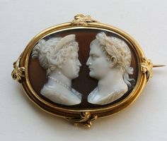 This agate cameo represents Napoleon and Marie Louise at their wedding in 1810 in a mounting dating circa 1840