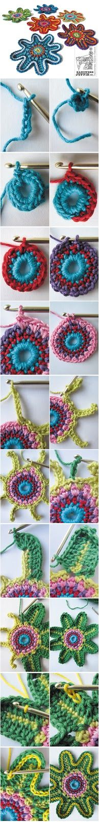 TUTORIAL: Crochet colorful flowers. By Handwerkjuffie.