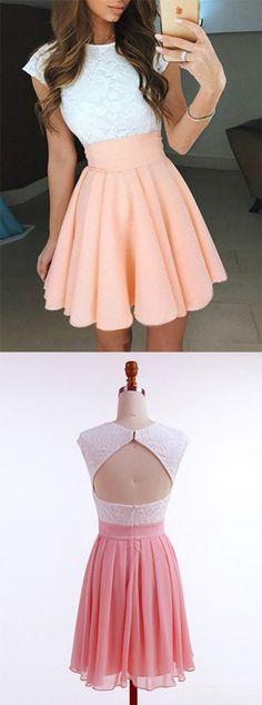 A-Line Jewel Cap Sleeves Pearl Pink Short Chiffon Homecoming Dress with Lace,Short Mini Prom Dresses,Graduation Dress,Cocktail Dress,Homecoming Dress,NJ54