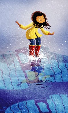 Puddle Rain Boots San Francisco Rainy Painting Rainy Day by nidhi