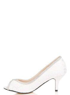 1be9274e51d6  Quiz White Diamante Lace Court Shoes