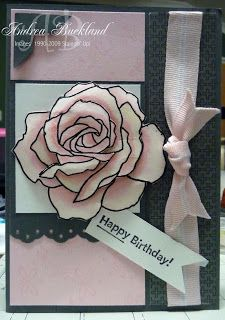 handmade birthday card from Creating Cards with Andrea ... gorgeous rose ... black and white with soft pink ... sweet!
