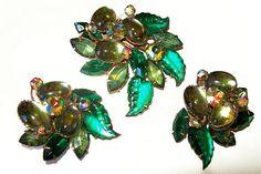 Beau Jewels Brooch Earring Set Signed Sage by BrightgemsTreasures