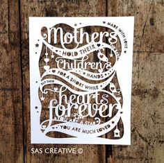 Papercut Template 'Mothers hold their childrens hands' Mother's Day PDF JPEG for handcutting & SVG file for Silhouette Cameo or Cricut Silhouette Cameo, Paper Art, Paper Crafts, Cut Paper, Origami, Paper Cutting Templates, Paper Cut Design, Scan And Cut, Mothers Day Cards