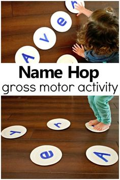 Name Hop Gross Motor Name Activity - Fantastic Fun & Learning - Kinesthetic Learning - Name Hop Gross Motor Name Activity-Such a fun way to teach preschoolers to recognize their name! Name Activities Preschool, Motor Skills Activities, Letter Activities, Preschool At Home, Nutrition Activities, Toddler Gross Motor Activities, Physical Activities For Preschoolers, Therapy Activities, Pre School Activities