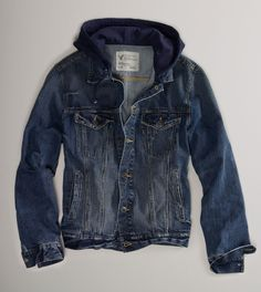 New jacket for fall -- a hooded denim jacket from American Eagle Outfitters. $79.50