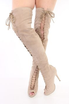 5a8a1659b Light Taupe Lace Up Thigh High Heel Boots Faux Suede