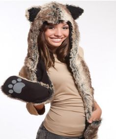 Wolf Hood/Hat. It's not exactly appropriate for July, but it's cute. Faux fur, of course.