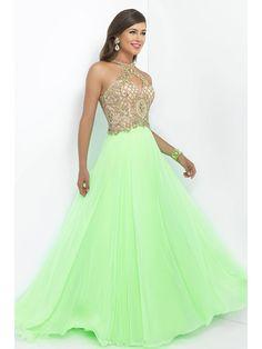 A-Line/Princess Sleeveless High Neck Beading Chiffon Floor-Length Dresses