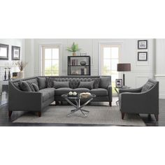 Left Sectional Sofa in Grey Linen on Espresso Legs #dynamichome sofa #sectional #grey #gray #linen #fabric #espresso #tufted #livingroom #greatroom #transitional #contemporary #style #decor #homedecor #interiors #interiordesign #seating #entertaining #livingroom #greatroom #decor #inspiration