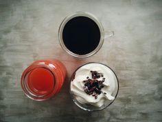 coffee, grapefruit juice, granola, greek yogurt, cacao nibs