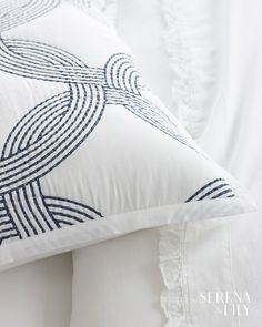This navy blue and white sham is all about attention to details. Quilt-stitching over a ring pattern creates wonderful texture and blends classic bedding with modern. Classic Bedding, Linen Shop, Design Logo, Patterned Sheets, Linen Bedding, Bed Linen, Luxury Bedding Sets, Quilt Stitching, Design Studio