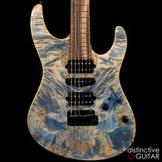 Suhr Custom Modern  Trans Denim / Slate Burl Maple Top - HSH - Boutique Strat