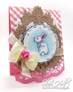 Inspiration card created by Sheri Holt using JustRite/Samantha Walker Welcome Spring clear stamps for the sweet little bunny with Spellbinders Gold Majestic Circles & A2 Scalloped Borders Two for a nice Spring / Easter card.