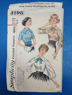 Vintage Simplicity 3195 Printed Pattern Women's Blouse Miss Size 16/36 Excellent for sale on Ebay