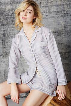 "Bedhead Women's ""Five Shades of Grey"" Classic Long Sleeve Shorty Pajama Set"